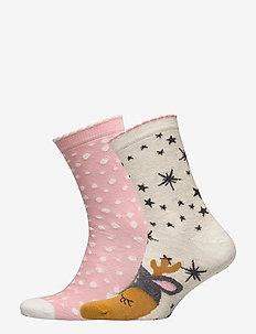 2P Cotton Socks Cute Deer - GREY