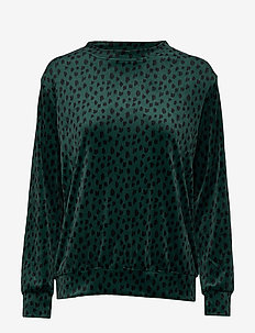 Top LS Velours Scribble - PINE TREE GREEN