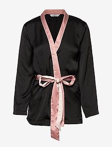 Kimono Jacket Satin Nightshade - BLACK