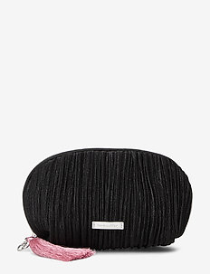 Metallic Stripe Make Up Bag - BLACK