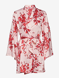 Kimono Satin Peony Flower - BARELY PINK