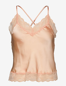 Cami Satin Meili - tops - peach parfait