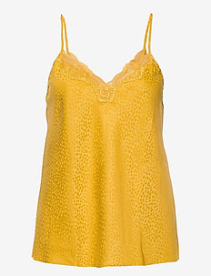 Cami Satin Jacquard Spot Lace - tops - nugget gold