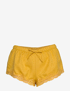 Short Satin Jacquard Spot Lace - shortsit - nugget gold