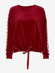 Top LS Velours Heart Tape - RIO RED
