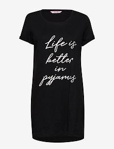 Nightie R-neck SS Life is Better - nattkjoler - black