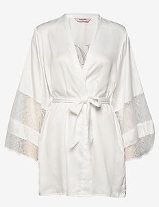 Kimono Satin Insert Lace Mrs - bademäntel - off white