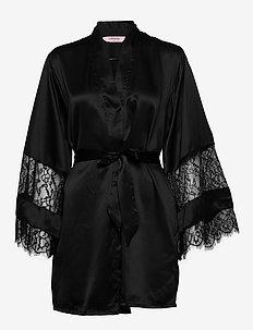 Kimono Satin Insert Lace Bow - bademäntel - black