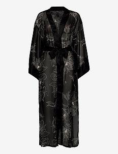 Kimono Long Chiffon Lotus - kimona - black