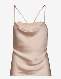 Cami Satin Cowl Neck Lace - Överdelar - silver peony