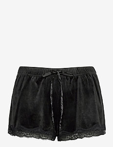 Short Velours Scallop Lace - szorty - black