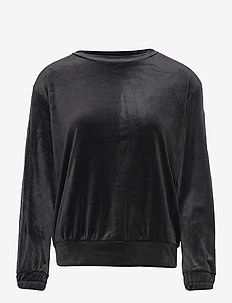 Top LS Velours Shimmer Tape - overdele - black
