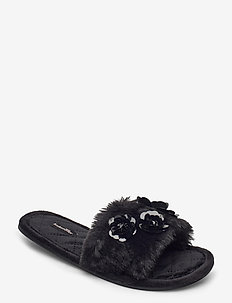 Fur Top Floral Lady Slipper - kapcie - black