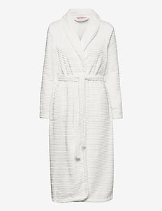 Robe Long Fleece Rib - bathrobes - off white