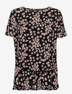 PJ Short Top SS Loosefit Daisy - pyjama''s - black