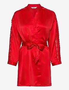 Kimono Satin Lace Slv Insert - kylpytakit - tango red