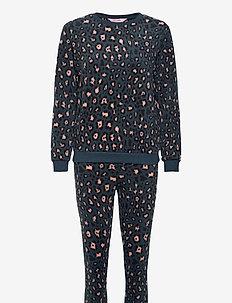 PJ Bag Micro Fleece Leopard - pyjama''s - dark teal