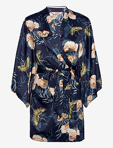 Kimono Satin Lotus Bird - kimonot - dark teal
