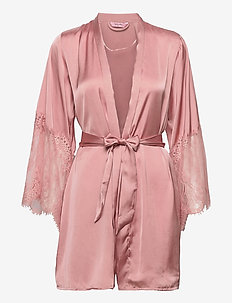 Kimono Satin Big Lace - pegnoirs - rose tan