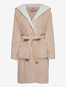 Robe Short Fleece Hood - bedrok - oatmeal melee