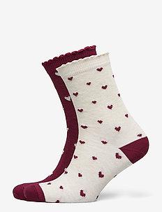 2P Cotton Christmas Heart Socks - sokken - green