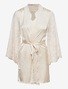 Kimono Satin All Over Lace Slv - pegnoirs - sea salt