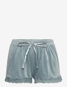Short Velours Scallop Lace - shorts - goblin blue