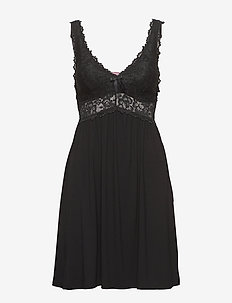 Modal lace sd - nachthemden - black