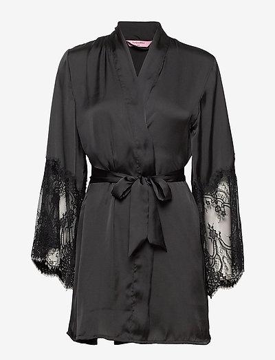 Kimono Satin Lace - badjassen - black