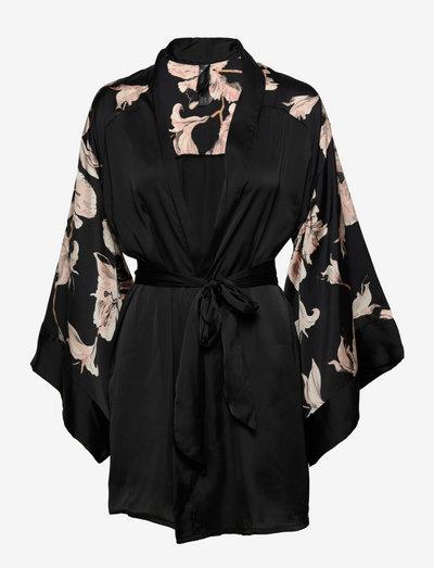 Kimono Satin Bloom - nieuwe mode - black