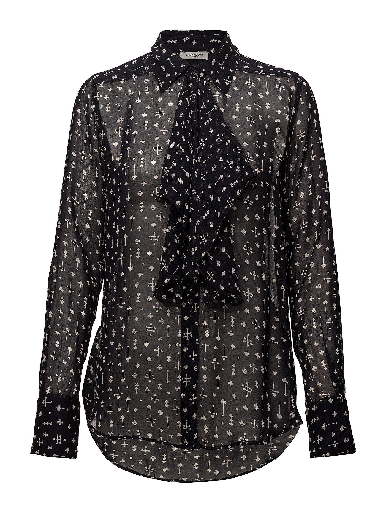 Hunkydory Clinton Spades Shirt - ALMOST BLACK SPADES