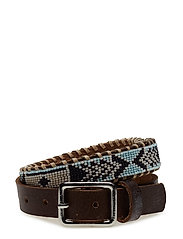 Nashoba Skinny Beaded Belt - NAVY BONE
