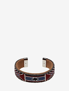 Naya Wide Beaded Cuff - bangles - red bone
