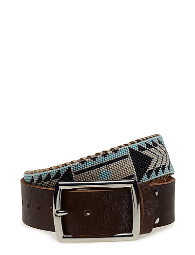 Nashoba Wide Beaded Belt - NAVY BONE
