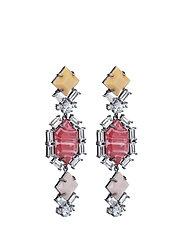 Saona Earrings - GUN METAL / RED