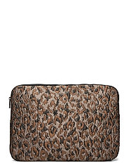 "COMPUTER SLEEVE 15"" LEOPARD - SILVER BROWN MULTI"