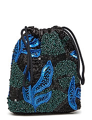 POUCH GALLERY BEADED - BLUE / BLACK