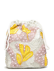 POUCH GALLERY BEADED - WHITE MULTI