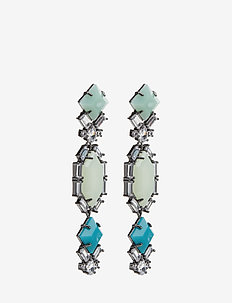 Saona Earrings - hängande - gun metal / blue