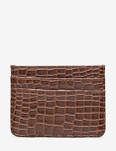 CARD HOLDER CROCO - korttikotelot - brown