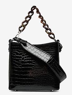 AMBLE CROCO SMALL - håndtasker - black