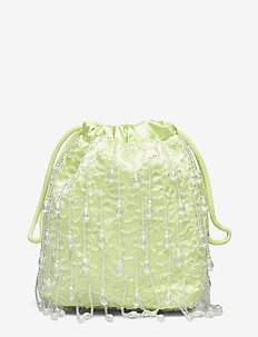 POUCH ROMANCE BEADED - bucket-laukut - lime green