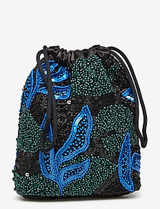 POUCH GALLERY BEADED - clutches - blue / black
