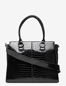 MOXIE CROCO - top handle tasker - black
