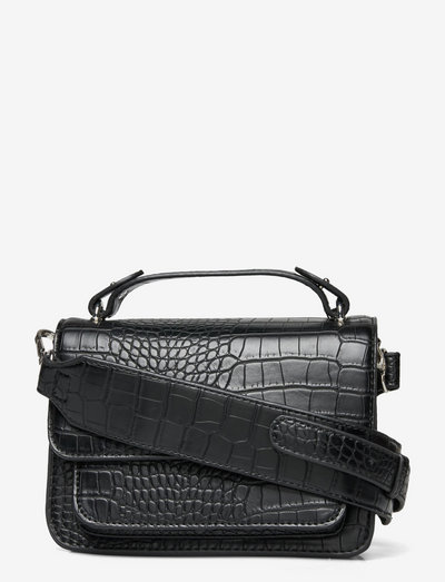 RENEI MATTE CROCO - crossbody bags - black