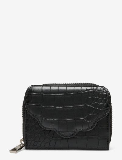 WALLET SHELL MATTE CROCO - purses - black