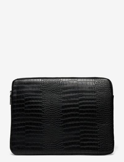 COMPUTER SLEEVE MATTE CROCO 13'' - computer bags - black