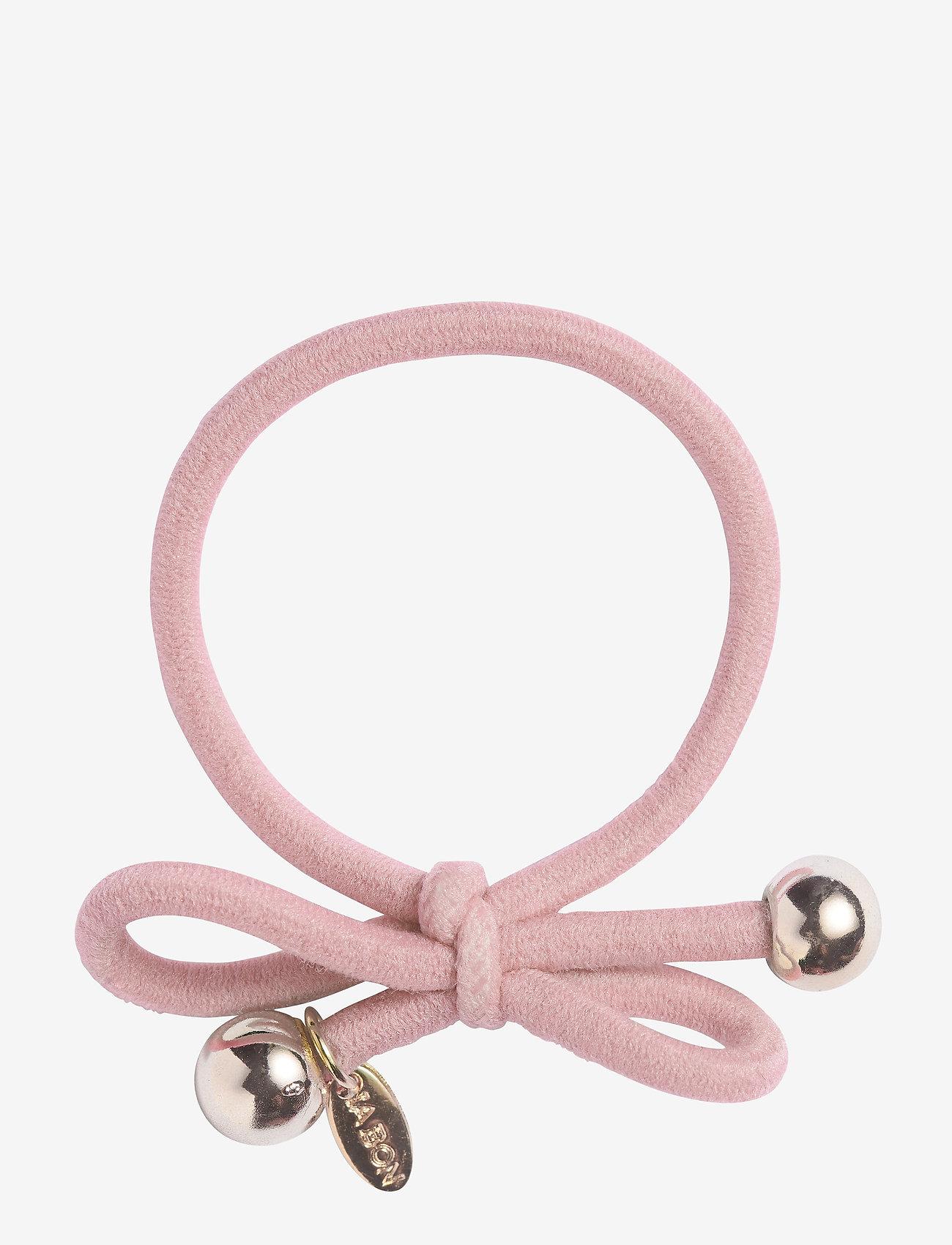 Ia Bon - HAIR TIE WITH GOLD BEAD - POWDER PINK - hårsnoddar - powder pink - 0