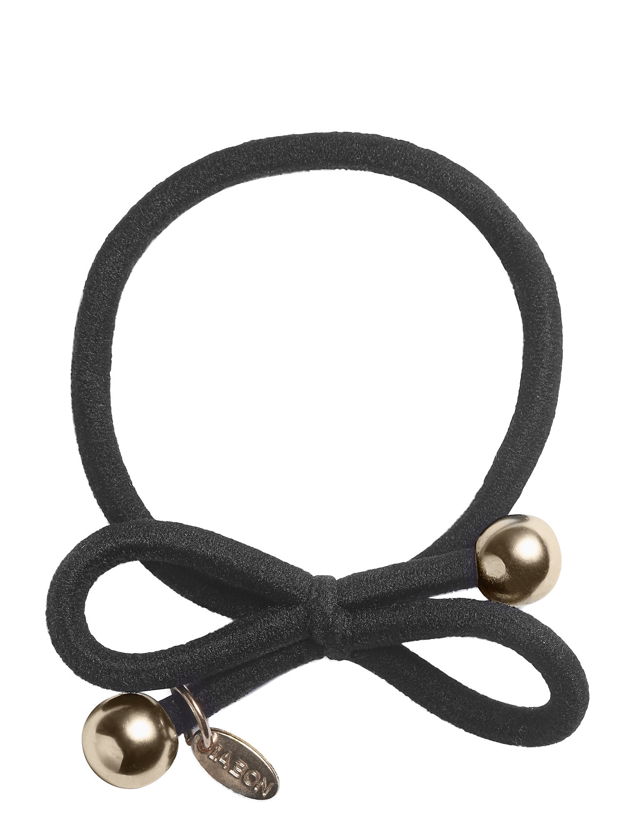 Image of Hair Tie With Gold Bead - Black Beauty WOMEN Hair Hair Accessories Sort Ia Bon (3466349005)