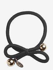 Ia Bon - HAIR TIE WITH GOLD BEAD - BLACK - håraccessoarer - black - 0